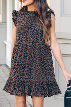Leopard Print Ruffled Hemline Swing Dress