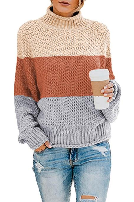 Brown Oversized Chunky Batwing Long Sleeve Turtleneck Sweater