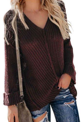 Red Textured V Neck Pullover Sweater