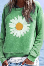 Green Flower Print Pullover Sweatshirt