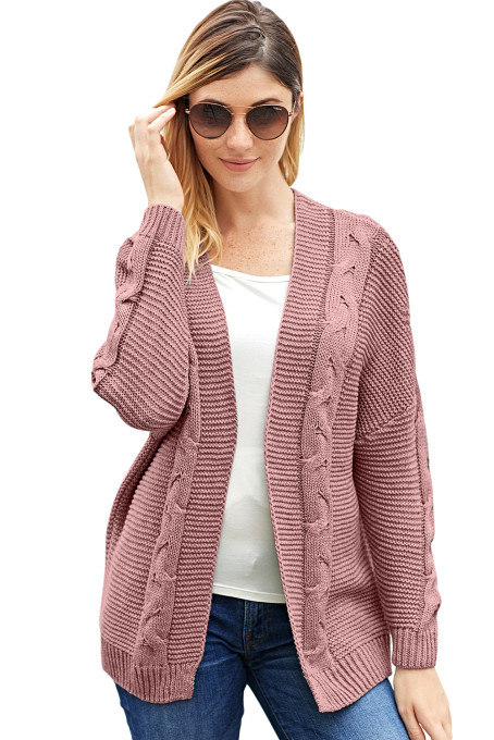 Pink Chunky Wide Long Sleeve Knit Cardigan