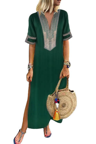 Green Bohemian Floral Print Split Maxi Dress