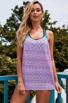 Purple Printed Patchwork Vest Tankini Top
