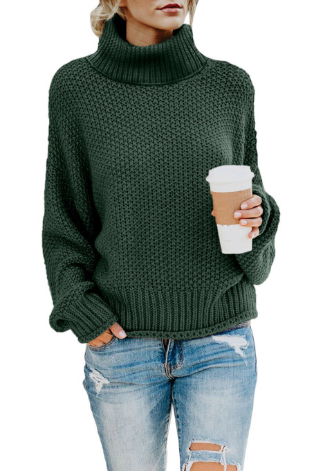 Green Turtleneck Balloon Long Sleeve Pullover Sweater