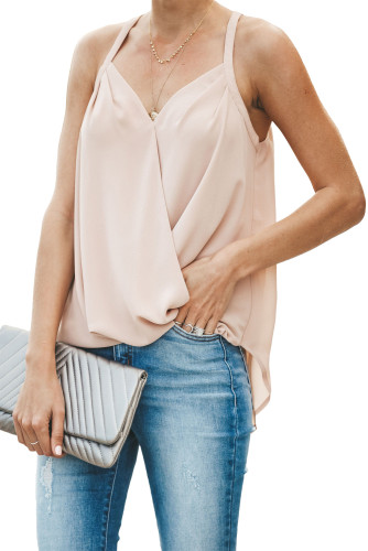 Apricot Slip In Wrap Front Summer Tank Top