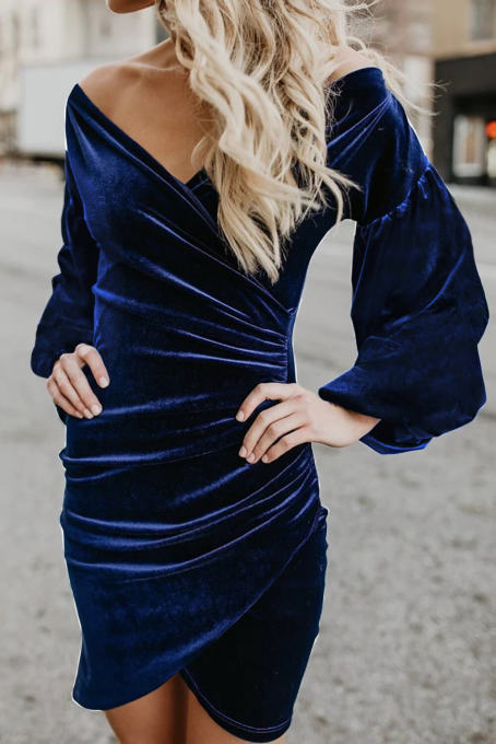 Blue Puff Sleeve Off Shoulder Wrap Bodycon Velvet Dress