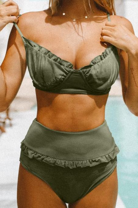 Green Ruffled Detail High Waist Bikini