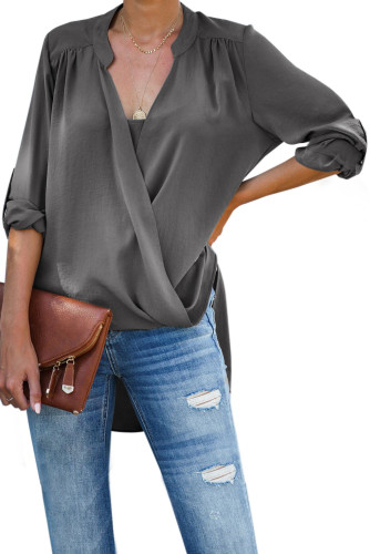 Gray Get You Covered Drape Front Layered Blouse