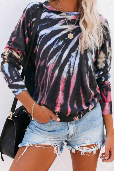 Multicolor Cotton Blend Tie Dye Pullover Sweatshirt