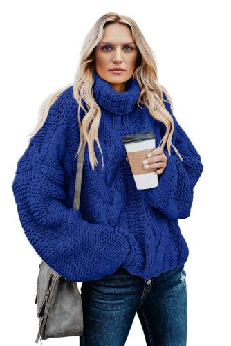 Blue Cuddle Weather Cable Knit Handmade Turtleneck Sweater