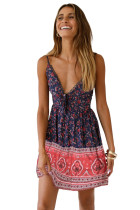 Blue Floral Pattern Tank Slip Dress