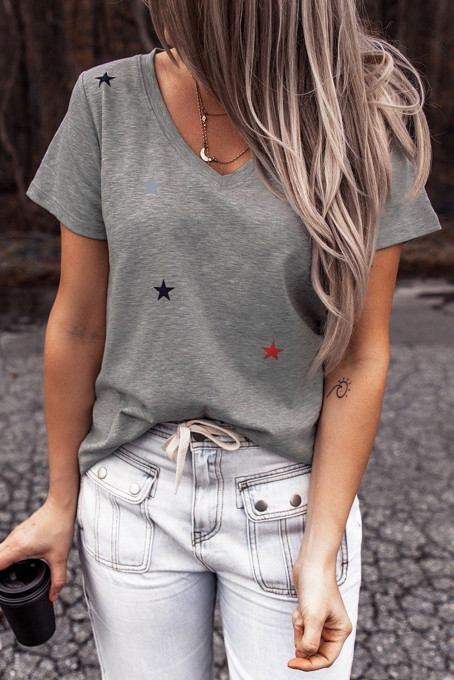 V Neck Stars Print Gray T-shirt