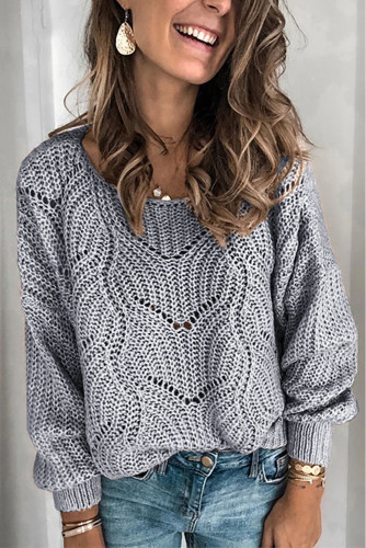 Gray Hollow-out Round Neck Knitted Sweater