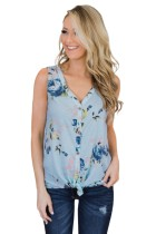 Sky Blue Touch The Sky Open Front Floral Tank Top