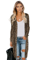 Brown Leopard Print Long Cardigan