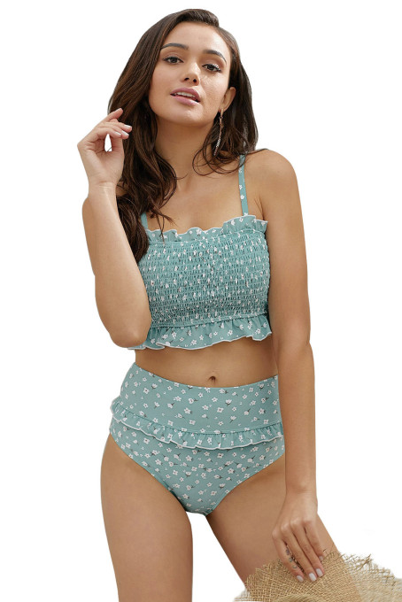 Sky Blue Floral Print Crop Top Bikini Set