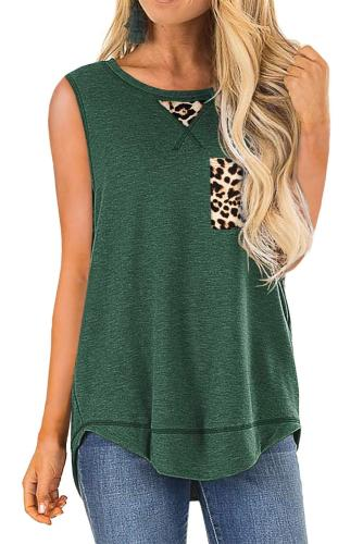 Green Tank Top with Leopard Patch Detail