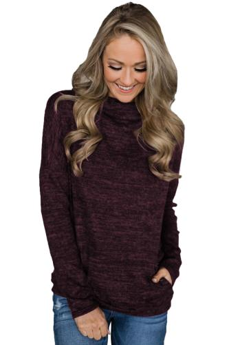 Burgundy Heathered Kangaroo Pocket Sweatshirt