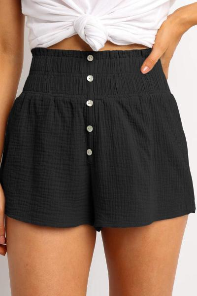 Black Crapy Banner Shorts
