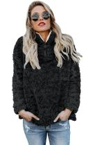 Black Zipper Fleece Pullover Coat