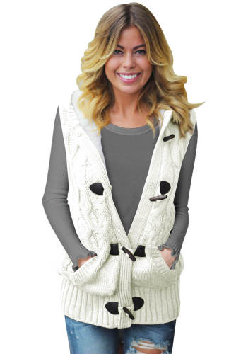 White Cable Knit Hooded Sweater Vest