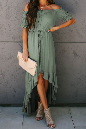 Sage Green Glaze High Low Off The Shoulder Maxi Dress