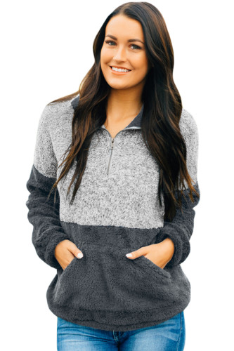 Double Gray Color Block Zip High Neck Fleece Sweatshirt