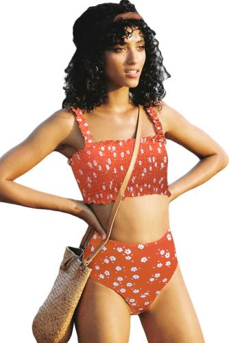 Orange Flower Smocked Swimsuit