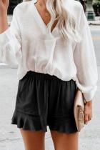 Black Linen Cotton Pocketed Flutter Shorts