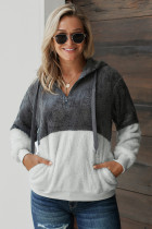 Charcoal White Colorblock Furry Hoodie