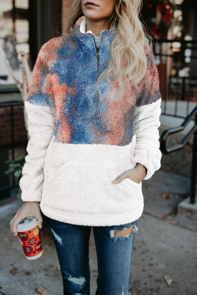 Tie-dye Fluffy Fleece Pullover Sweatshirt