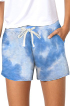 Sky Blue Tie Dye Casual Shorts