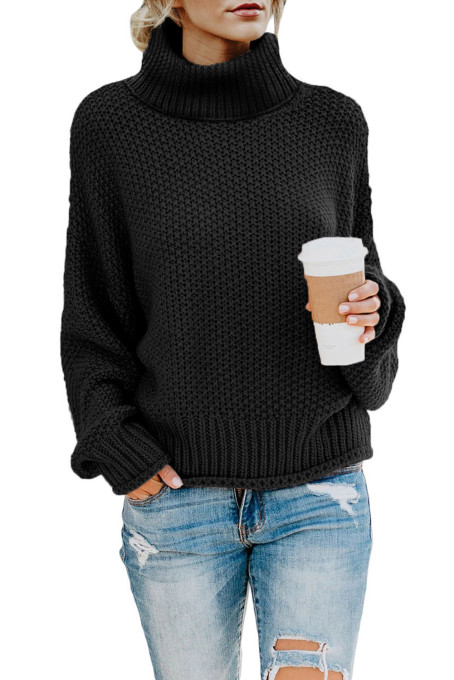 Black Turtleneck Balloon Long Sleeve Pullover Sweater