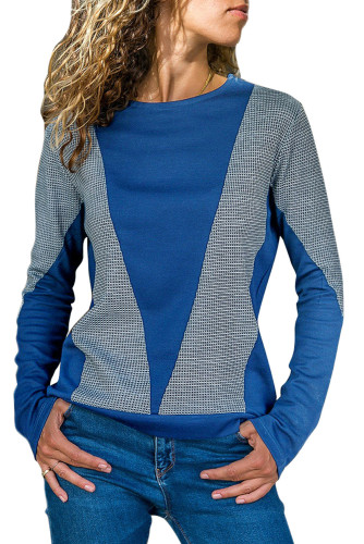 Dark Blue Color Block Round Collar Sweatshirt