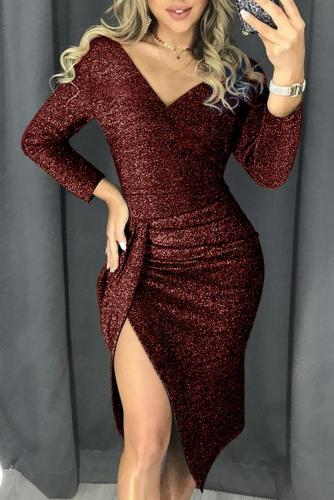Red Glitter Ruched Thigh Slit Prom Metallic Dress