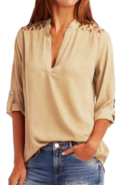 Apricot Crisscross Shoulder Detail Roll Tab Blouse