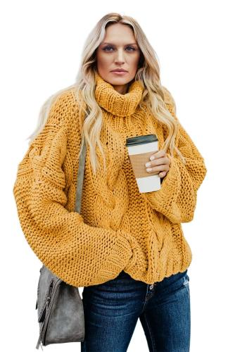 Yellow Cuddle Weather Cable Knit Handmade Turtleneck Sweater