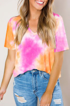 Orange Gradient Tie Dye V Neck T-shirt