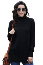 Black Turn-up Sleeve Turtle Neck Sweater