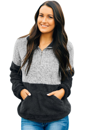 Black Gray Color Block Zip High Neck Fleece Sweatshirt
