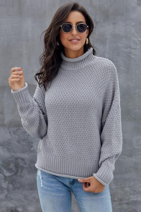 Gray Oversized Chunky Batwing Long Sleeve Turtleneck Sweater