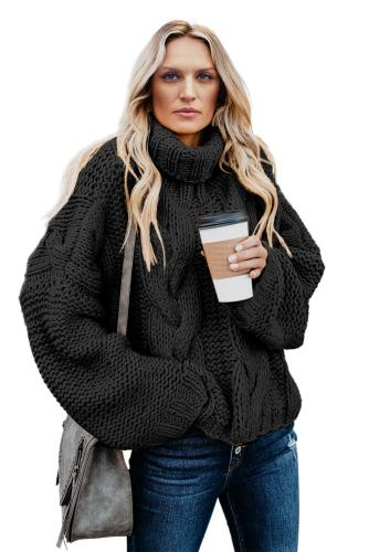 Black Cuddle Weather Cable Knit Handmade Turtleneck Sweater