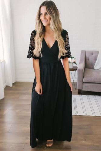 Black Floral Lace Half Sleeve Wrap V Neck Prom Maxi Dress