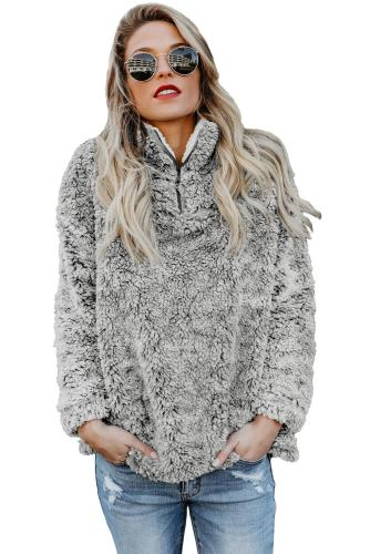 Gray Zipper Fleece Pullover Coat