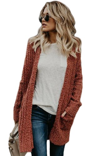 Red Pebble Beach Textured Cardigan