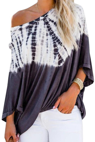 Blue Tie-Dye Print Long Batwing Sleeve Loose Casual Blouse