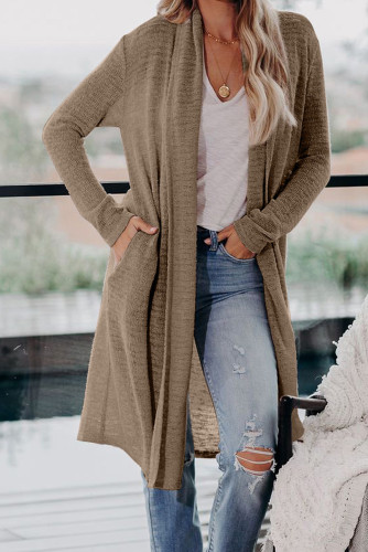 Brown Slouchy Pocketed Knit Longline Cardigan