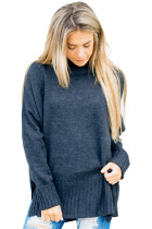 Indigo Turn-up Sleeve Turtle Neck Sweater