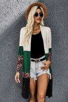 Colorblock Leopard Print Patchwork Knit Cardigan