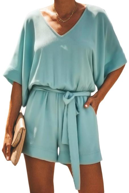 Green Spring Scene Pocketed Tie Romper